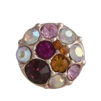 "Snap Charm Rose Gold Multicolor Pink and Purple Stones 12mm Mini 1/2"" Diameter Fits Ginger Snaps"