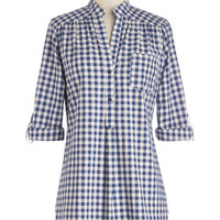 ModCloth Americana Long 3 Bonfire Stories Tunic in Blue Gingham