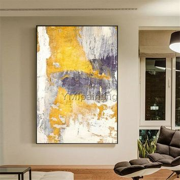 Original Abstract yellow acrylic Painting on canvas extra Large Texture Nordic Wall Art Pictures for living room cuadros abstractos decor