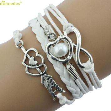 Diomedes Newest Hot Sales 1PC Infinity Love Heart Imitation Pearl Friendship Antique Leather Charm Bracelet Summer Bracelet
