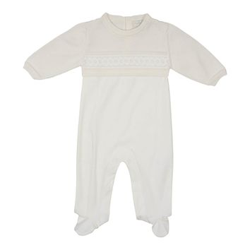Chant De Joie Unisex-Baby Ivory Knitted Footie