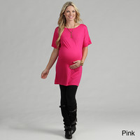 24/7 Comfort Apparel Women's Maternity Oversized T-shirt Dress | Overstock.com