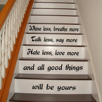 Wall Decals Life Quote Love Breathe More Staircase Stairway Stairs Phrase Art Mural Vinyl Decal Sticker Home Interior Design Decor KG742