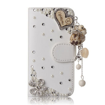 Love Case for Samsung Galaxy S3 S4 S5 Note 7 S7 Bling Premium Leather Crystal Diamond Rhinestone Flip Wallet Cover Phone Case
