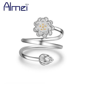 Almei 15% Silver Wedding Rings Lotus Ring for Women Vintage Adjustable Flower Anel Feminino Anillos Jewelry New Year Gifts JZ162