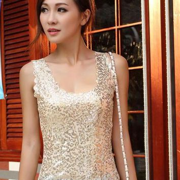 Women Sleeveless T Shirts Ladies Sparkling Bling Tank Singlets Sequined Tops Female Blouse