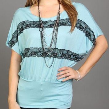 Women's Tops With Lace Detail *Necklace Included*