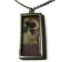 Flower Art Pendant, Purple and Yellow Iris Orchid, Metal Bezel Frame,Silver Toned Chain