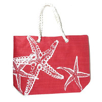 Starfish Straw Beach Tote Bag with Rope Handles - 18-1/2-in (Red)