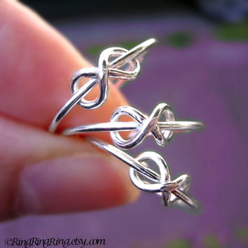 3 Forever infinity rings - 925 sterling silver ring jewelry, sisters, best friends 091612