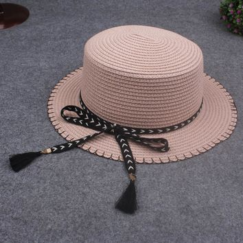 Summer  Straw Hat With Removable Bow Tassel