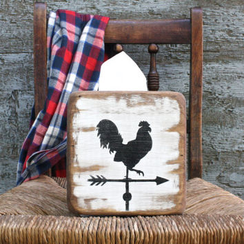 FREE SHIP Rooster Weathervane Rustic Distressed Primitive Wood Tissue Box Holder Cover Square