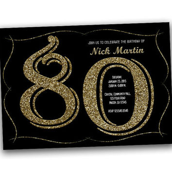 Glittery Gold Adult Birthday Invitation - Milestone Birthday Invitation - 80th - 70th - 60th - 50th - 40th - Surprise - Man - Woman