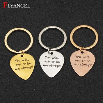 Customied Guitar Pick Lovers Keyring  You will ore er my always Gift For Couples Boyfriend Girlfriend Jewelry Men Women Keychain
