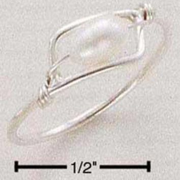 Sterling Silver Ring:  Fresh Water Cultured Pearl Wire Ring