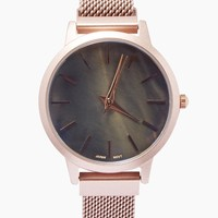 No Numbers Metal Watch - Rose Gold