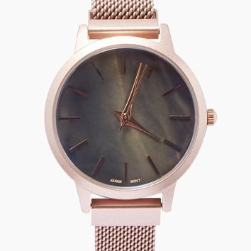 Round Metal Mesh Watch - Rose Gold