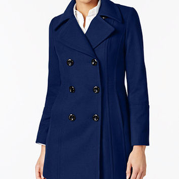 Anne Klein Double-Breasted Wool-Blend Peacoat | macys.com