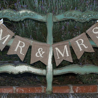 Mr. & Mrs. burlap banner- Wedding banner -Photography prop - garland