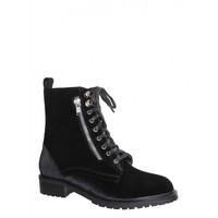 Ray black velvet lace up booties