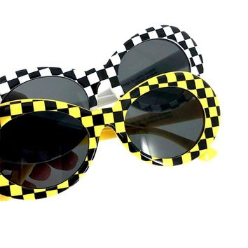 90s Grunge Nirvana Kurt Cobain Taxi Cab Yellow White Black Checkered Sunglasses