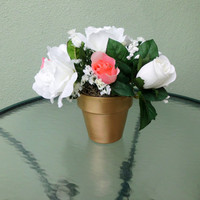 Silk Floral Arrangement, Valentine's Day Roses, Assorted Roses, Clay Pot (V9)