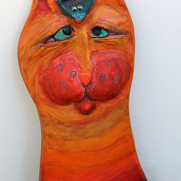 Boomer & the Mouse - OOAK Ceramic Cat Wall Decor