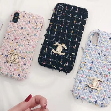 Chanel Fashion cortical silica gel phone case Logo iPhone 6 s mobile phone shell iPhone 7 plus shell Blue G