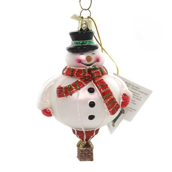 Noble Gems HOT AIR BALLOON ORNAMENT Glass Christmas Delivery Nb1079 Snowman