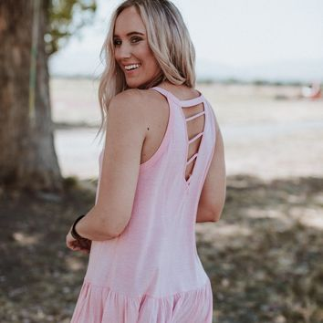 Look Back Ruffle Hem Tunic Top - Pink