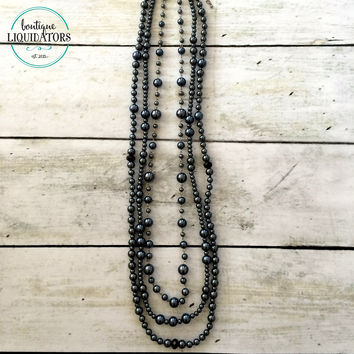 Gunmetal Pearl 3 Strand Necklace
