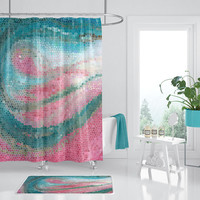 Pink and Teal Mosaic Shower Curtain, fabric  turquose, coral,  coastal, modern wave