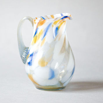 Vintage small  Pitcher Spatter Glass vase, white blue orange swirls jar tiny, Soviet era handmade glass Jug Pitcher, retro home decor jar