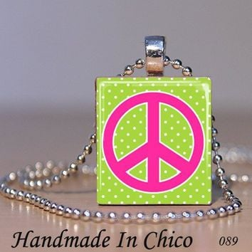 Scrabble Tile Pendant - Retro Lime Green dots Hot Pink Peace sign - 089 - with Decorative MATCHBOX gift box - Handmade Crafts by Handmadeinchico