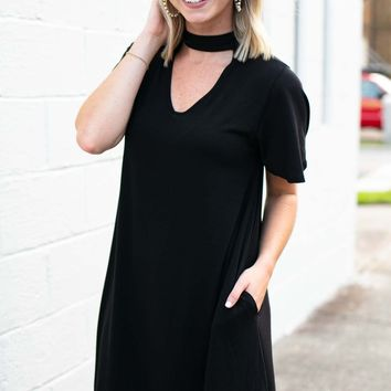 Hours with You Cut Out Black Dress with Pockets