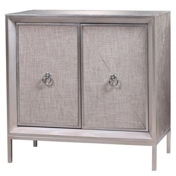 Mancini Mirrored Top Cabinet 2 Doors, Cream/Silver
