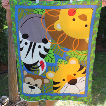 Ready to be shipped/ Handmade Hand Quilted Baby Blanket for the zoo/ Lion Tiger Monkey Zebra
