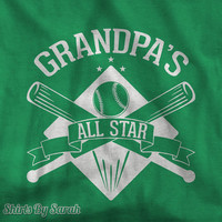 Grandpa's All Star T-Shirt - Kids Tees Papa Grandpa Baseball Themed Youth Tshirt Boys Girls Children