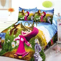 3pcs cartoon bedding sets 100% cotton kids bed linen with duvet cover+fitted sheet+pillow case set