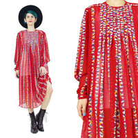 1970s Sheer Chiffon Dress Abstract Print Red Dress Rainbow Stripes Long Sleeve Dress Flowy Chiffon Dress Midi Pleated Tunic Dress (M)
