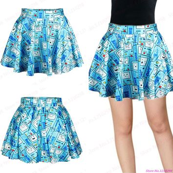 New Blue Robots MiniSkirts Women 3D Game Printed Pleated Short Skirts Summer Exercise Gym Fitness Cheerleading Sport Skirts