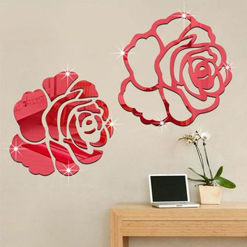 Rose Flower 3D Mirror Wall Stickers DIY Home Decor Living Room Bedroom Wall Decoration Acrylic Mirrored Decorative Wall Decal