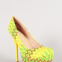 Bamboo Corona-11x Neon African Canvas Platform Pump Color: Yellow Multi, Size: 6
