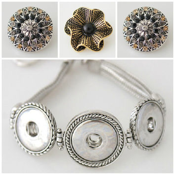 Noosa style snap button Bracelet plus 3 Chunk Charms that are interchangeable with pendants & rings