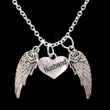 Husband Heart Guardian Angel Wing In Memory Heaven Charm Necklace