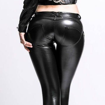 Women Elastic Skinny Pu Leather Leggings Pants Woman High Shiny Black Waist Trousers Shaping Sexy Freddy Fitness Pencil Push Up