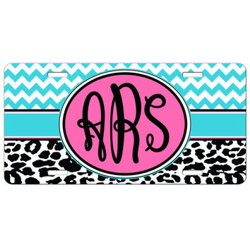 Personalized Monogrammed License Plate Car Tag, Monogram License Plate, Personalized License Plate, Monogram Car Tag Chevron Leopard Cheetah
