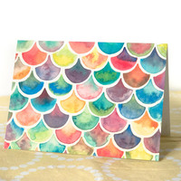 Blank Card with Envelope - Handpainted Watercolor Scale Pattern - A6 Sized Cards