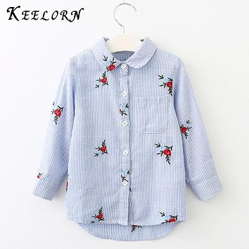 Kids Shirts New Autumn Baby Girls Shirts Blouse Red Flowers Embroidery Strip Kids Shirts Clothes Children Clothing