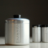 Vintage Aluminum Canister and Salt and Pepper - Grease Can - Mid Century Kitchen